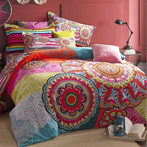 Alicemall Boho Paisley Bedding Multi Color Bohemian Style Flower Prints Sheets  Set 100% Cotton Super