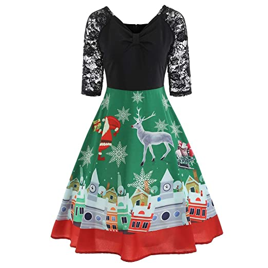 opeer festive dresses for women with sleeves lace vintage print green christmas party dress green