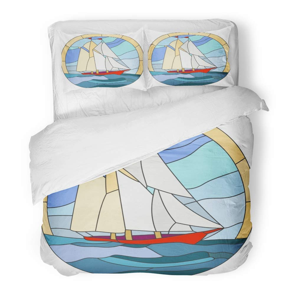 Emvency Bedding Duvet Cover Set Full/Queen Size (1 Duvet Cover + 2 Pillowcase) Blue Ocean Ship Stained Glass Window Boat Caravel Evening Mosaic Sail Sailboat Hotel Quality Wrinkle and Stain Resistant