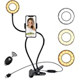 Webcam Light Stand for Live Stream, Selfie Ring Light with Cellphone Holder Compatible with iPhone 8 7 6 Plus X Android…