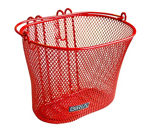 Basket with hooks RED, Front , Removable, wire mesh SMALL kids Bicycle basket , RED by Biria