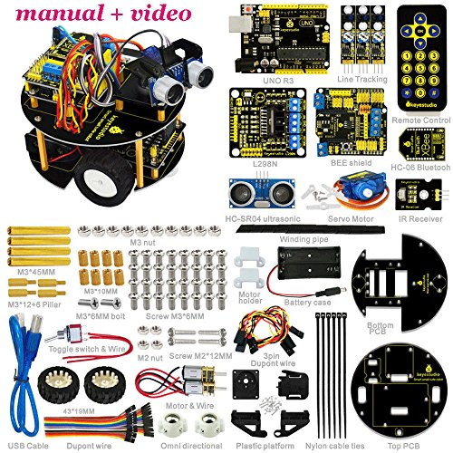 Obstacle Avoidance Tracking Infrared Bluetooth Control Smart Car kit Arduino by Aigh Auality shop