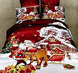 Joybuy Red Cartoon Santa Claus and Cartoon Dog Bedding Set Festive Red Bedding Set Santa Claus Duvet Cover Bed Sheet Pillow Case 4pcs Queen Size Comforter Not Included