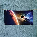 alsoeasy Fitness Towel Comet Approaches Planet Scientific Facts Realities in Solar System No Fading Multipurpose L35.4 x W11.8 inch