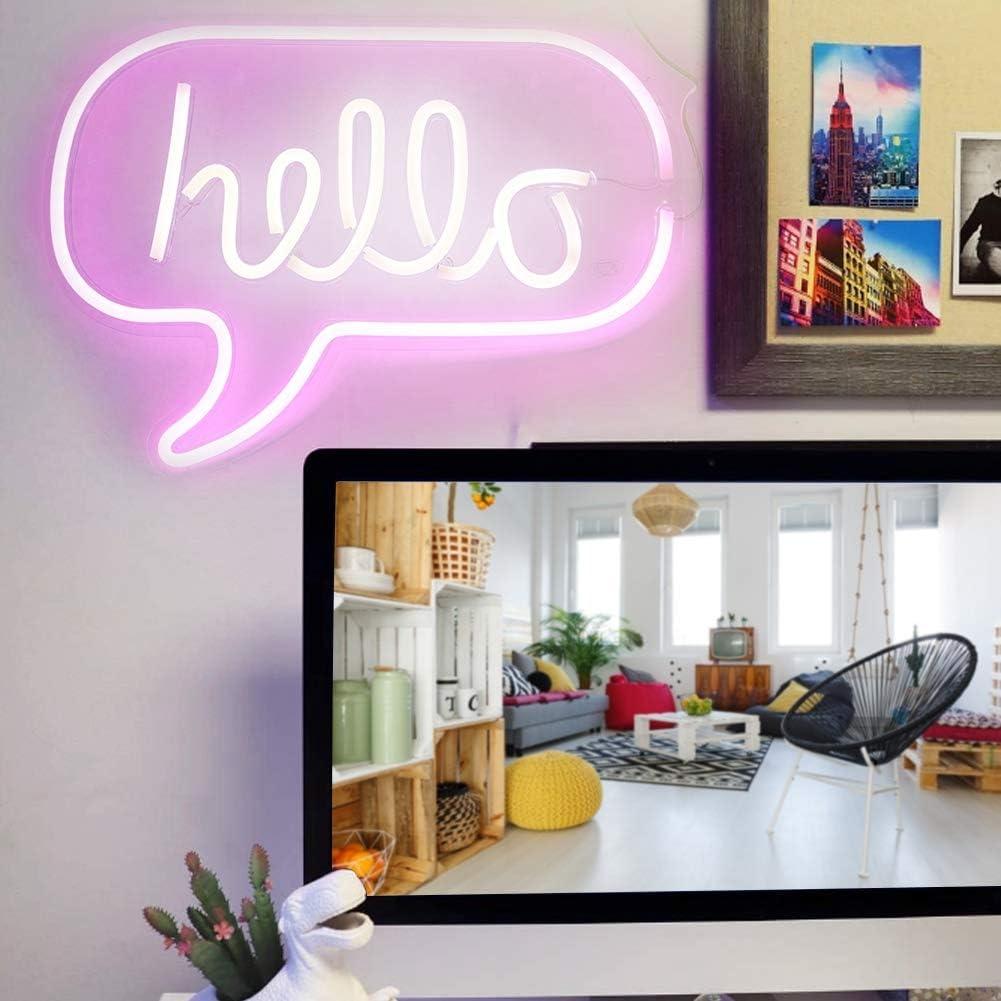 Luz de ne/ón HELLO Letters LED Neon Light Colgante de pared para bar Dormitorio Sala de estar