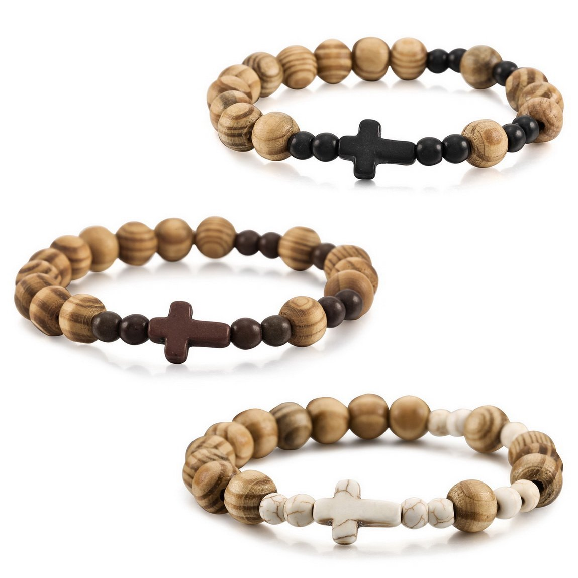 INBLUE Men, Women's 3 PCS 10mm Wood Bracelet Link Wrist Tibetan Buddhist Bead Prayer Buddha Mala Cross Elastic Set INBLUE Jewelry mnb1932