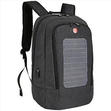 WDGT Mochila solar mochila de senderismo con energía solar Mochila con cargador solar integrado para computadoras portátiles, black, 24 inch: Amazon.es: ...