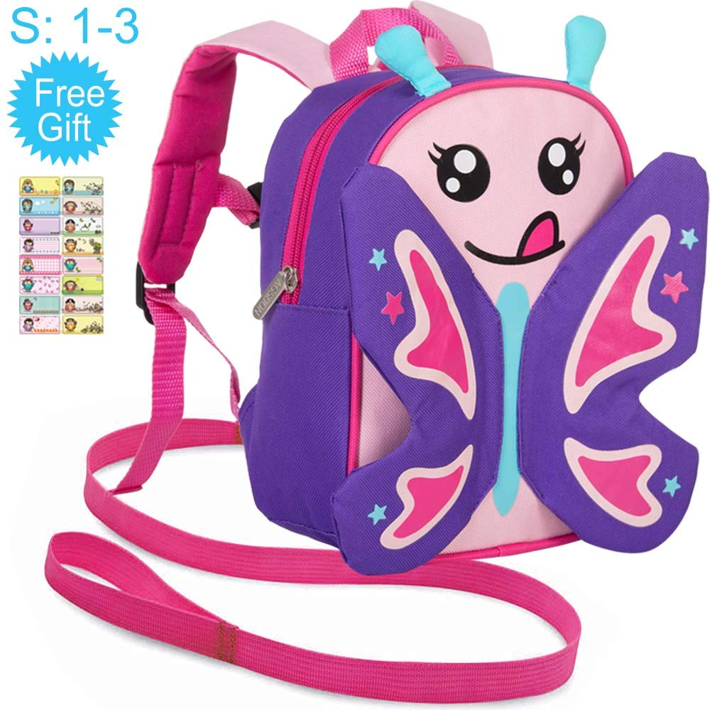 Toddler Backpack with Safety Harness Leash, 9.5'' Butterfly Bag
