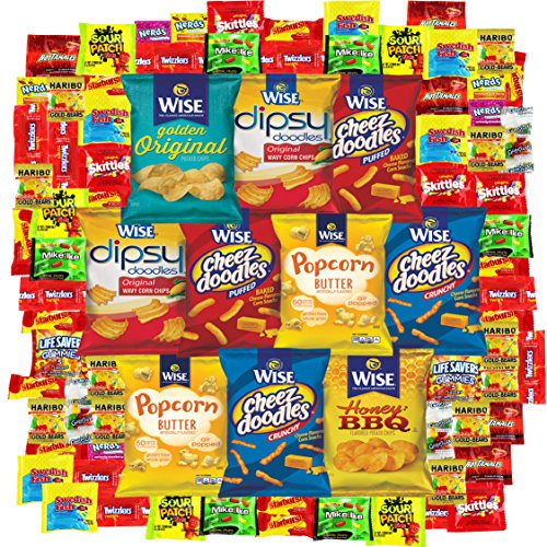 Snack Gift Party Bundle Care Package Variety Pack Cookies Chips & Candies Sampler 100 Count (Brownie Points Popcorn compare prices)