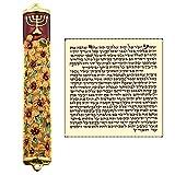 Enamel MEZUZAH CASE with Scroll Hebrew Parchment Menorah Judaica Door Mezuza Made In Israel 9 cm
