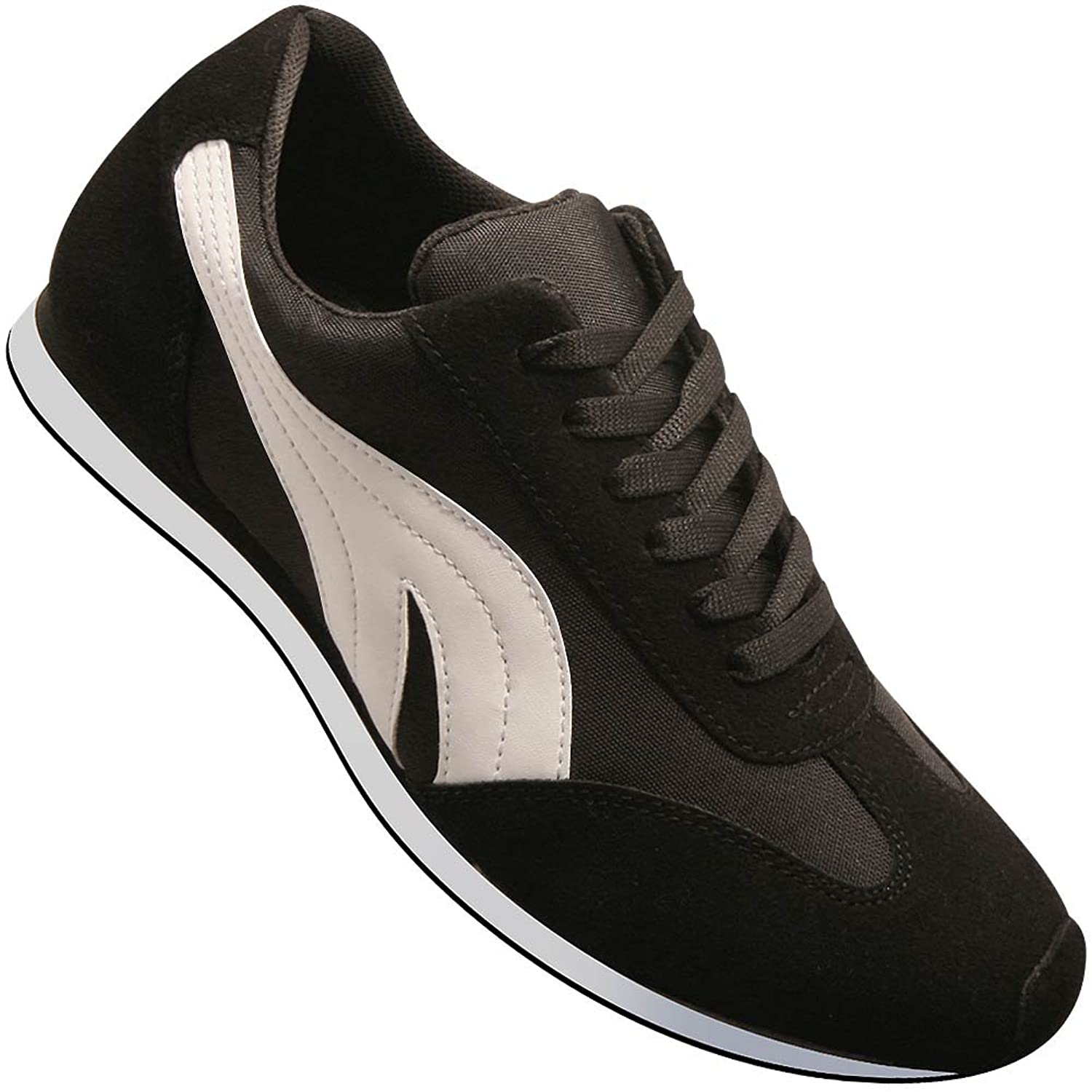 Rockabilly Men's Clothing Aris Allen Mens Retro Runner Dance Sneaker in Black and White $59.95 AT vintagedancer.com
