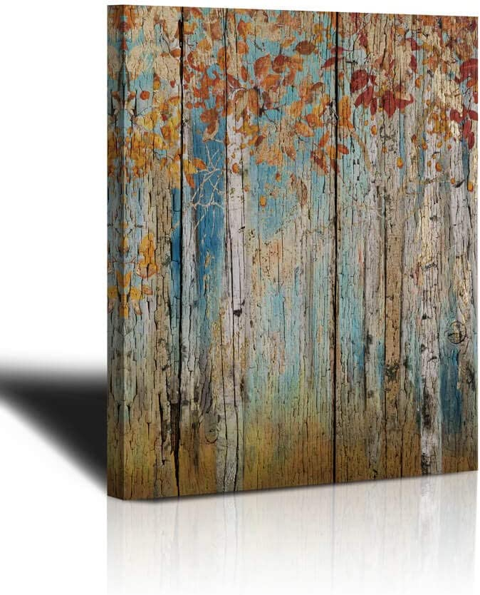 "Canvas Wall Art yellow Tree Forest Landscape Picture Prints, Rustic Modern Birch Trees Nature Woods Abstract Painting Artwork 12""x16"" Wood Gallery and Framed for Home Office Living Room Bedroom Decor"