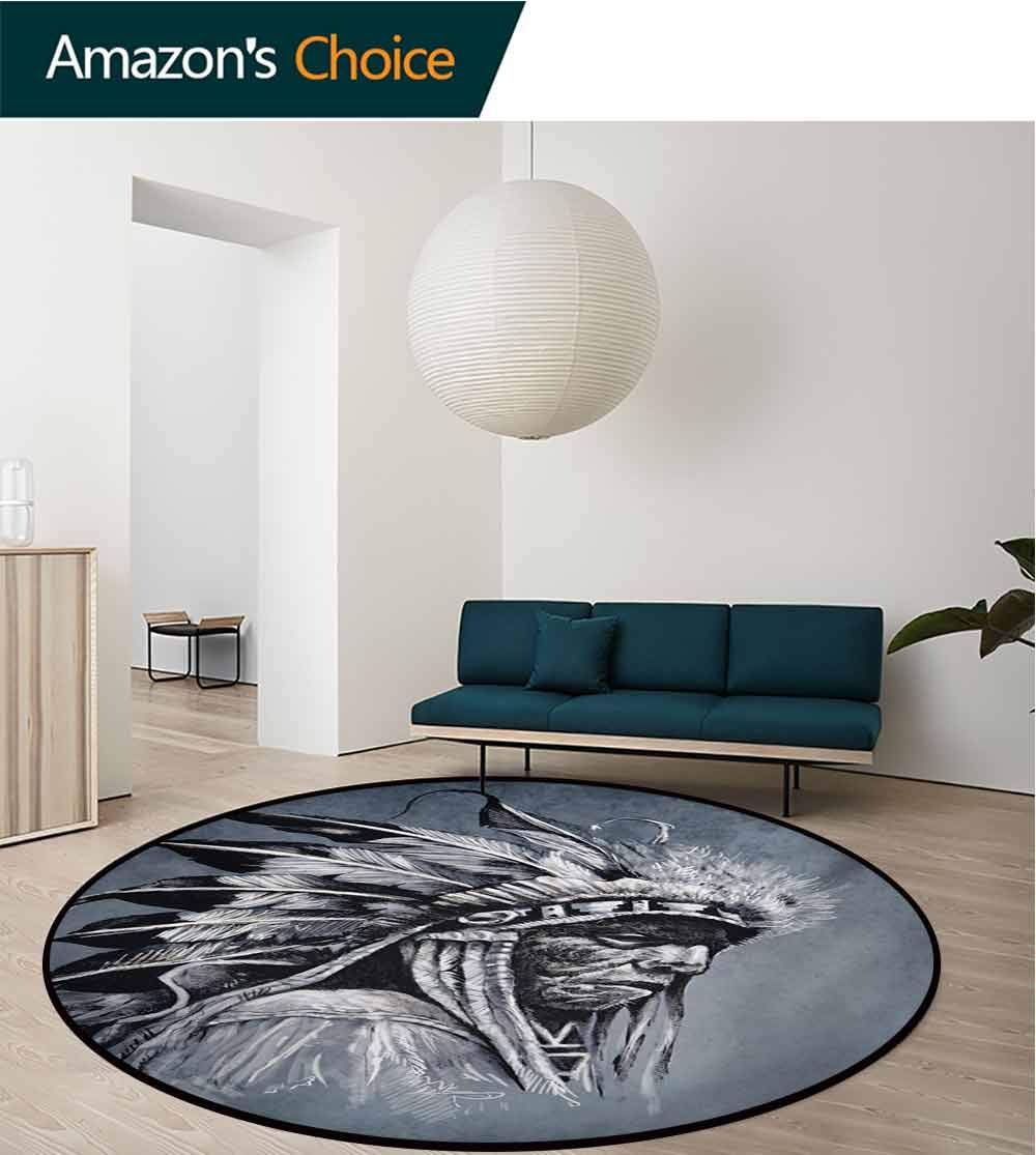 Native American Modern Machine Washable Round Bath Mat,Hand Drawn Tribe Chief Head with Feathers Vintage Style Ethnic Art Non-Slip Living Room Soft Floor Mat,Diameter-39 Inch
