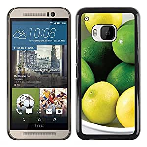 KLONGSHOP // Cubierta de piel con cierre a presión Shell trasero duro de goma Protección Caso - Fruta Menta Limón - HTC One M9Plus M9+ M9 Plus //