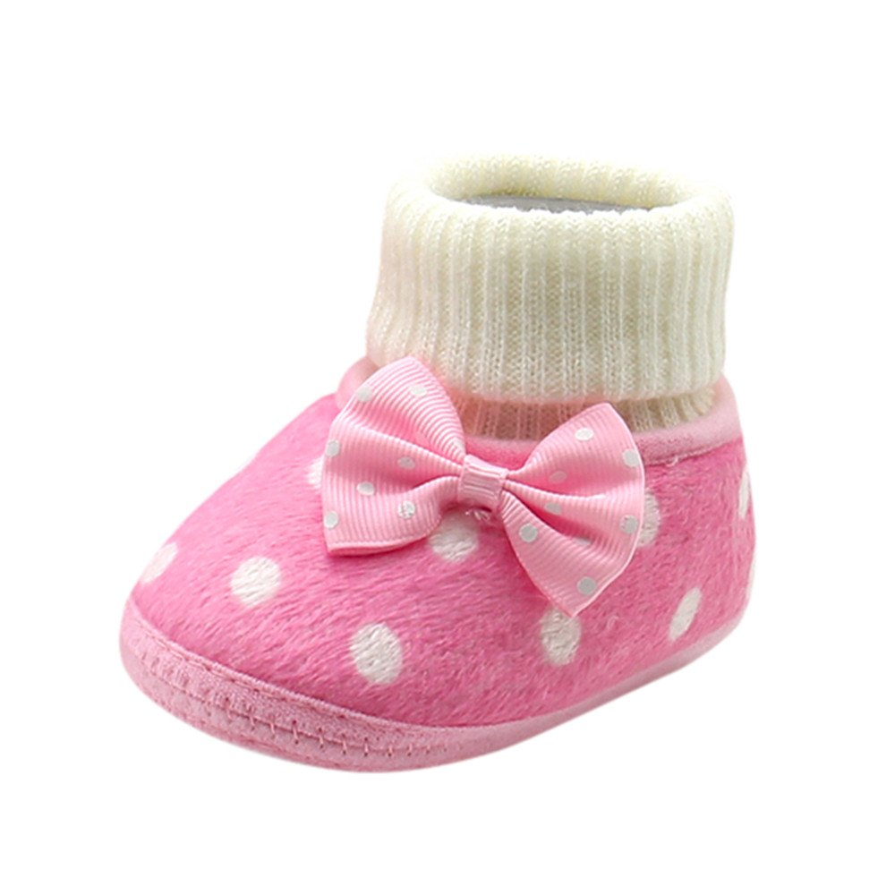 Lanhui Cute Newborn Girl Warm Shoes Toddler Bowknot Hot Soft Sole Boots Baby Shoes (0~3Month, Pink)