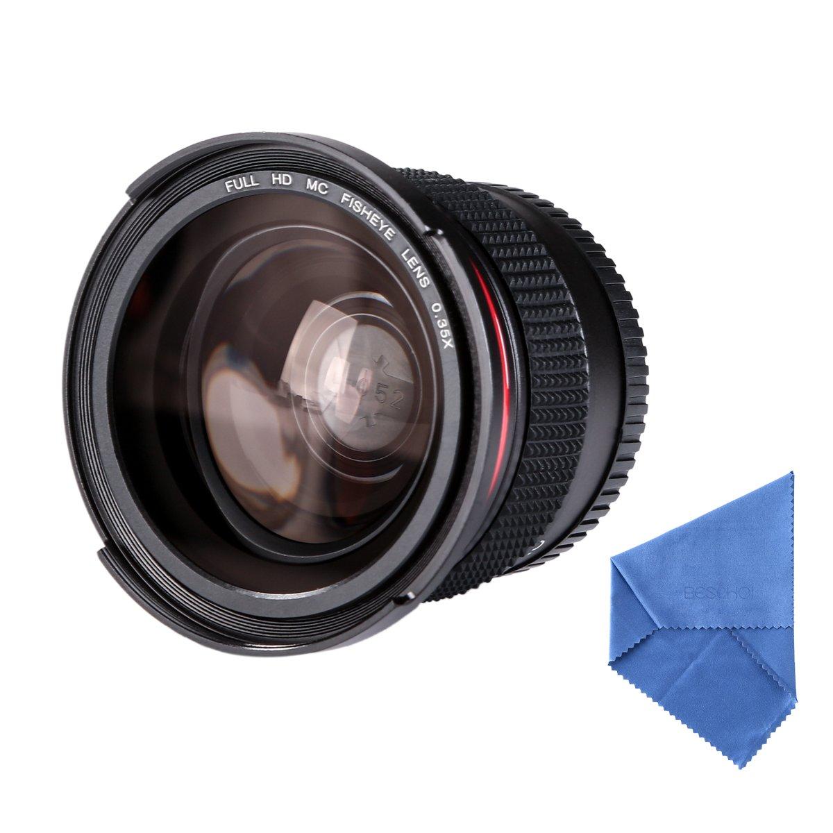 Beschoi 52MM Fisheye Lens 0.35 Macro Fisheye Lens 0.35X Ultra Clear Blue Film Coated Fish Eye Lens For Canon Nikon DSLR Cameras + Cleaning Cloth