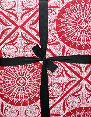 Raymond Waites Fabric Tablecloth White Dotted Geometric Medallion Pattern on Red 70 Inches - Raymond Waites Designer