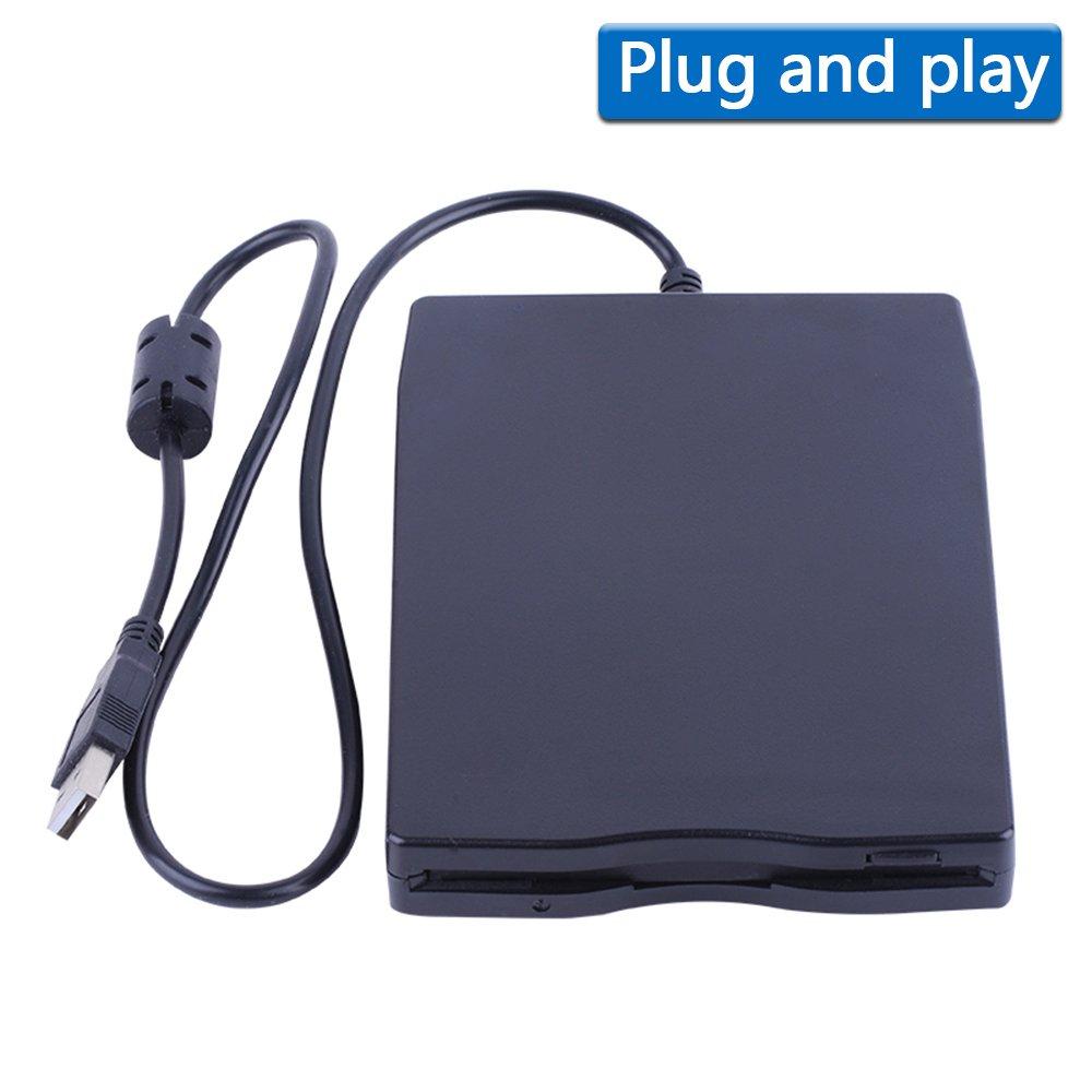 3.5'' USB External Floppy Disk Drive Portable 1.44 MB FDD for PC Windows 2000/XP/Vista/7/8/10 Mac,No Extra Driver Required,Plug Play,Black