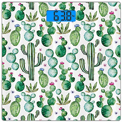 Precision Digital Body Weight Scale Green Stall Ultra Slim Tempered Glass Bathroom Scale Accurate Weight Measurements,Mexican Texas Cactus Plants Spikes Cartoon Like Art Print,Green ()