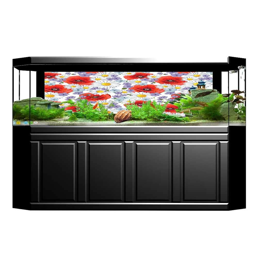 Jiahong Pan 3D Aquarium Background Poppy with Poppy and Butter Romance Themed Fish Tank Wall Decorations Sticker L23.6 x H15.7