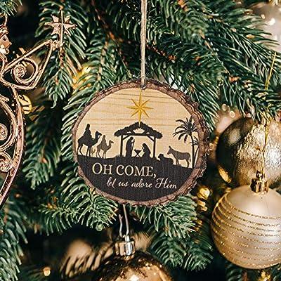 P Graham Dunn O Come Let Us Adore Him Nativity Scene Wood Tree Bark 4 inch Christmas Tree Ornament ORN0031