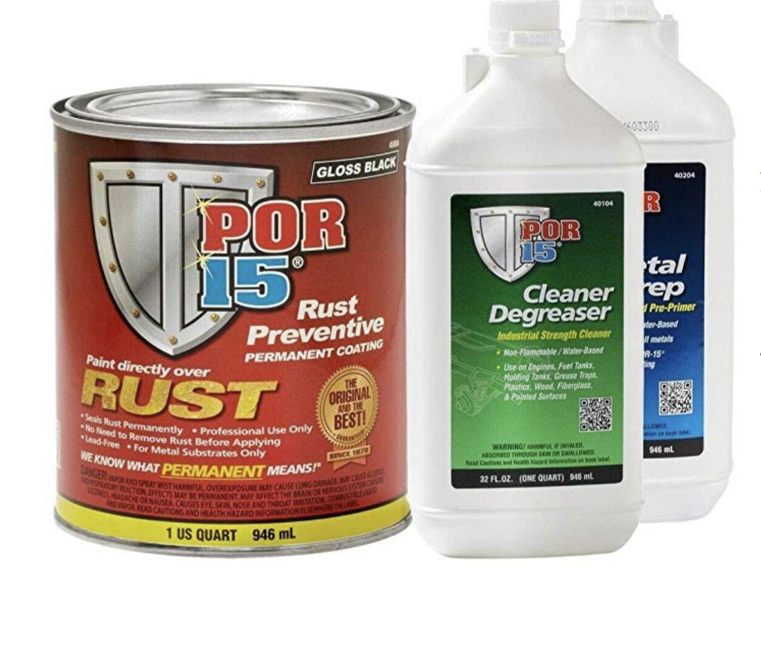 POR-15 45004 Rust Preventative Coating Gloss Black Kit w/Metal Prep & Degreaser