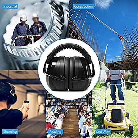 Construction TTAototech Folding Ear Defenders SNR 35dB Protectors Head-mounted Noise-proof Soundproofing Earmuffs Hearing Safety Adult for Hearing Protection Firework Yard Work