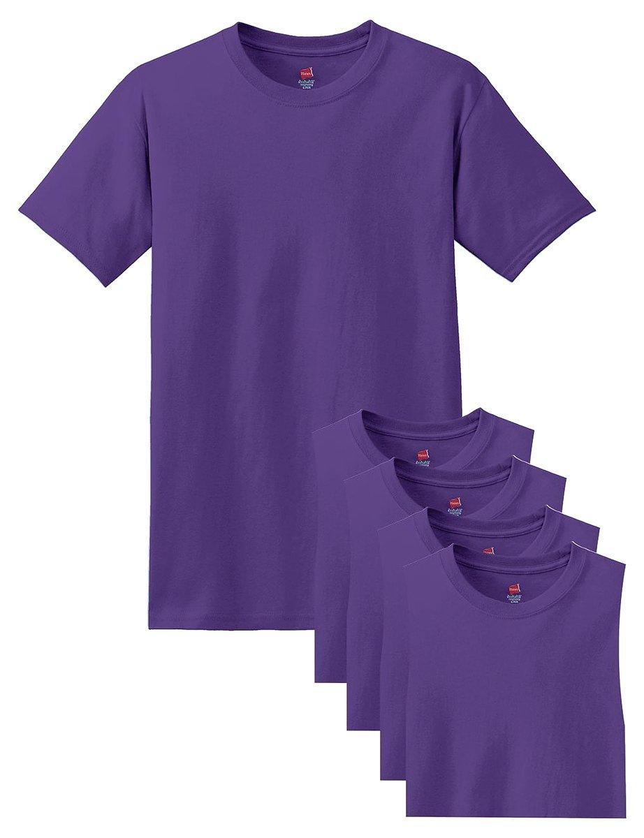 Hanes メンズ Tシャツ ラベルなし 柔らかくて快適 丸首(5枚入り) B015NJQHRC X-Large|パープル パープル X-Large