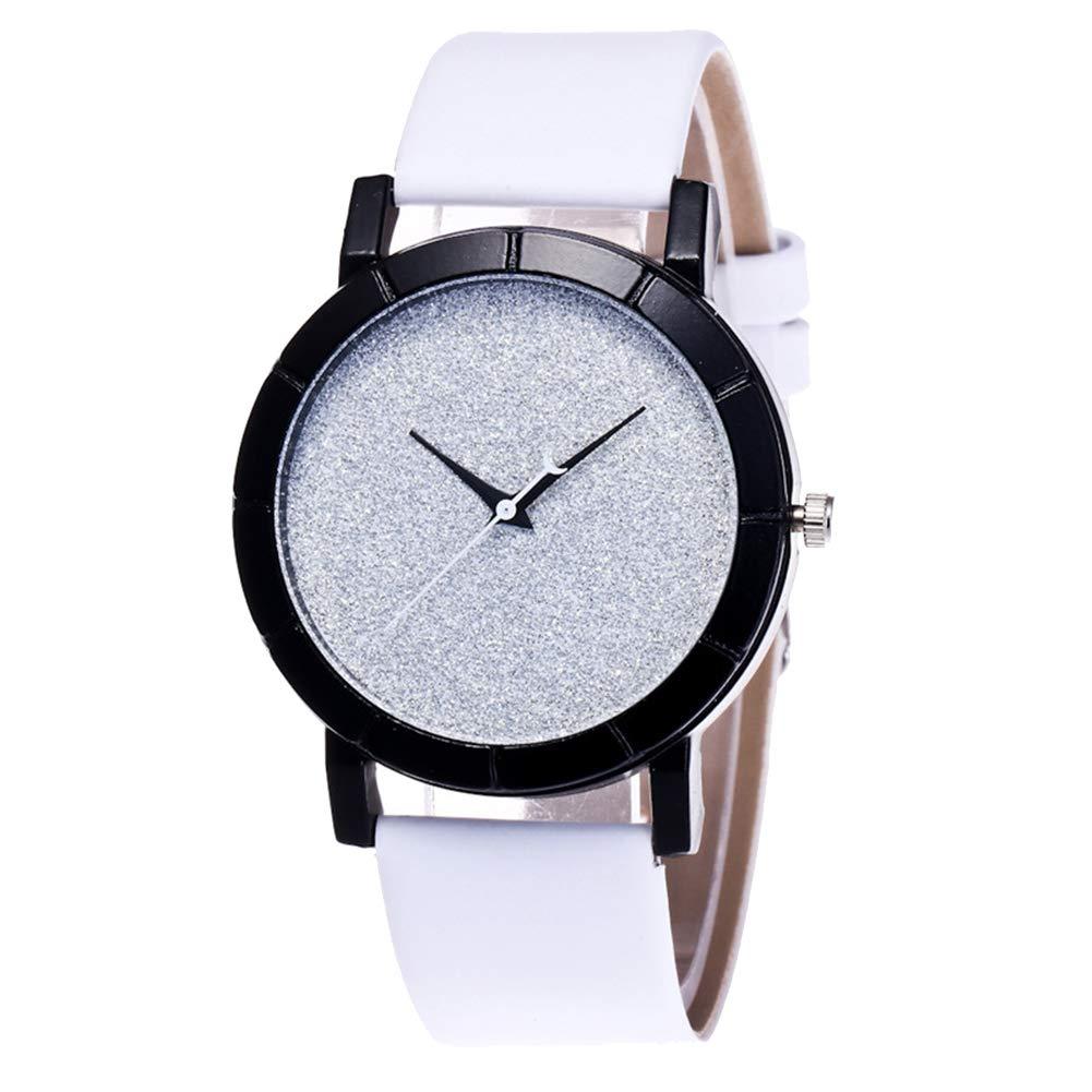 yanbirdfx Fashion Women Men Starry Solid Color Round Dial Quartz Wrist Watch Couple Gifts - White
