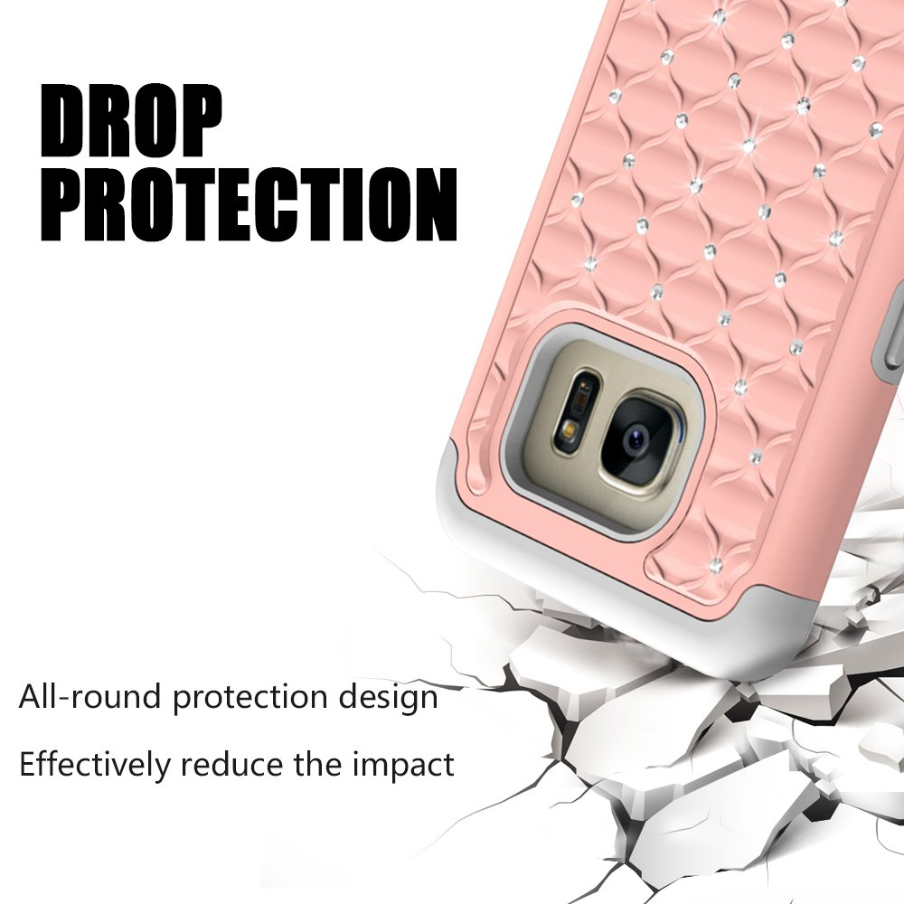 Galaxy S7 Edge Case, MagicSky [Shock Absorption] Studded Rhinestone Bling Hybrid Dual Layer Armor Defender Protective Case Cover for Samsung Galaxy S7 Edge (Rose Gold)