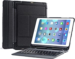 New 2018 iPad 9.7 Keyboard Case with Apple Pencil Holder, Detachable Bluetooth Keyboard with Shockproof Heavy Duty Full-Body Protective Case for iPad 9.7 2018/2017/iPad Pro 9.7/iPad Air 1 2