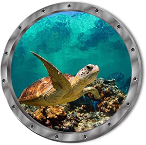 DNVEN 11 inches x 11 inches 3D Undersea Tropical Fishes Shark Sea Turtles Porthole Window View Faux Submarine Murals Decals Removable Wall Stickers for Bedrooms Home Arts
