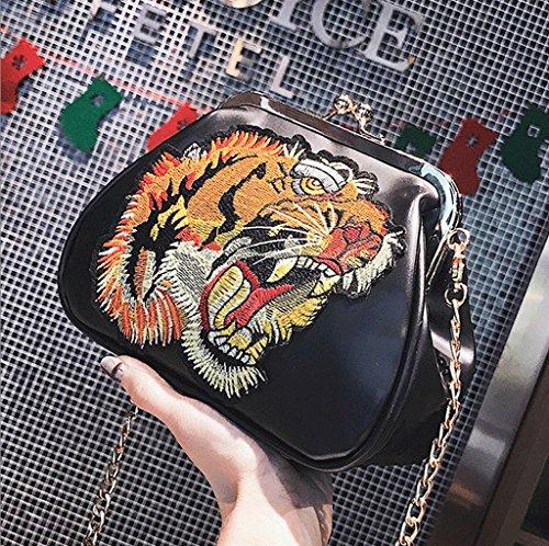 color Hombro Piccola Embrague Spalla Bolsa Modo Della Bolso A A Nero Cuadrado Negro Moda colore Cadena Bag Piazza De Catena Handbag Frizione Nero Borsa Di Pequeño Negro Coreano Coreano B60Yq