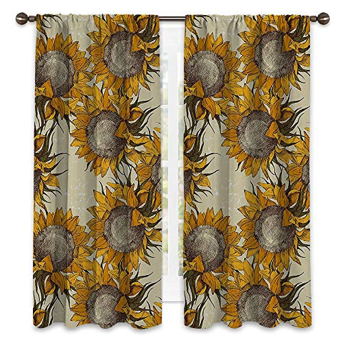 SATVSHOP Waterproof Window Curtain- 63W x 72L -Draperies for Bedroom.Floral Dark Toned Sunflowers with Sketch Effects Harv t Time Theme Paint Beige Marigold Umber.