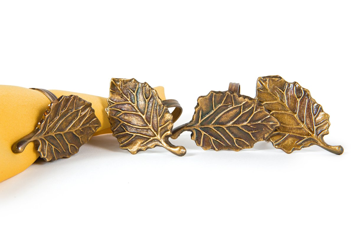 Manor Luxe Harvest Leaf Brass Metal Fall Napkin Rings, Set of 4