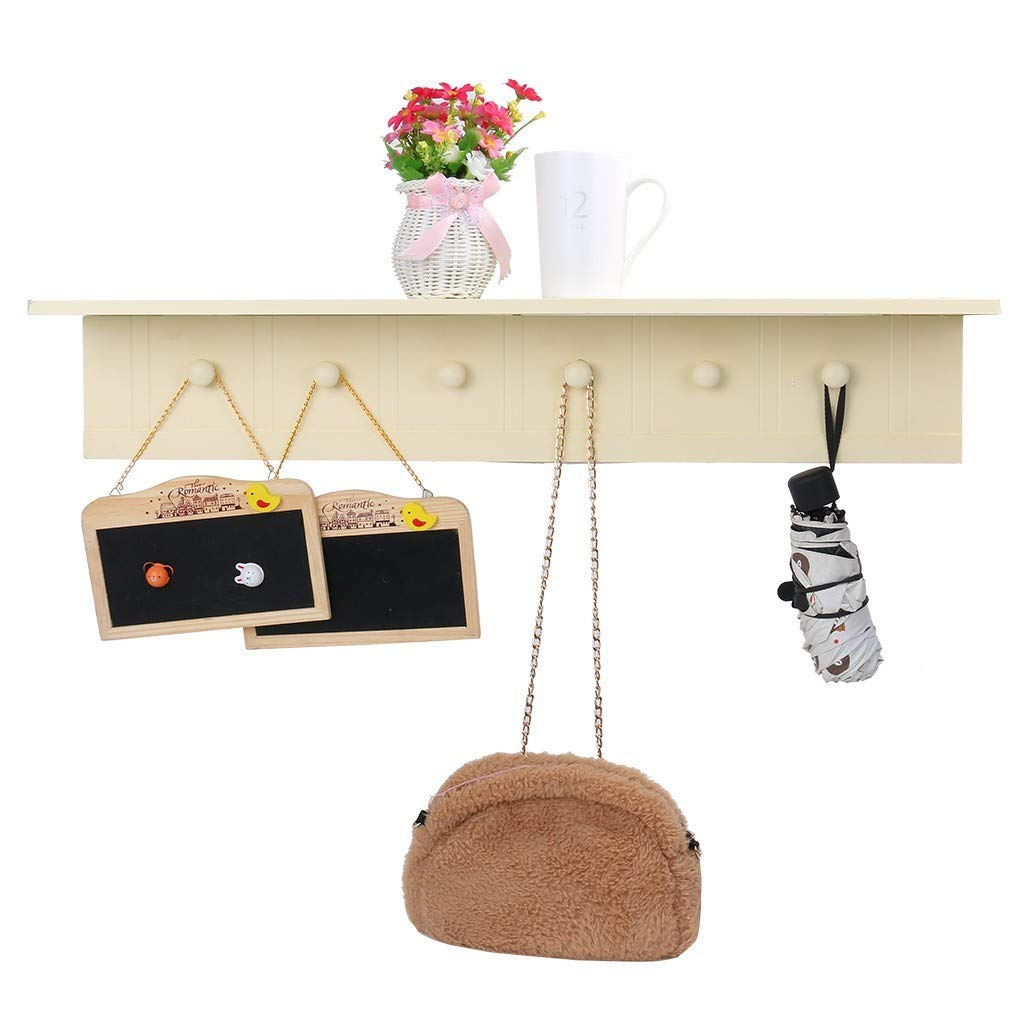 Mostbest Wall Mounted Coat Rack Entryway Wall Shelf Solid Wooden Organizer with Hooks Storage Cabinets for Hallway Living Room, Entryway Key Rack