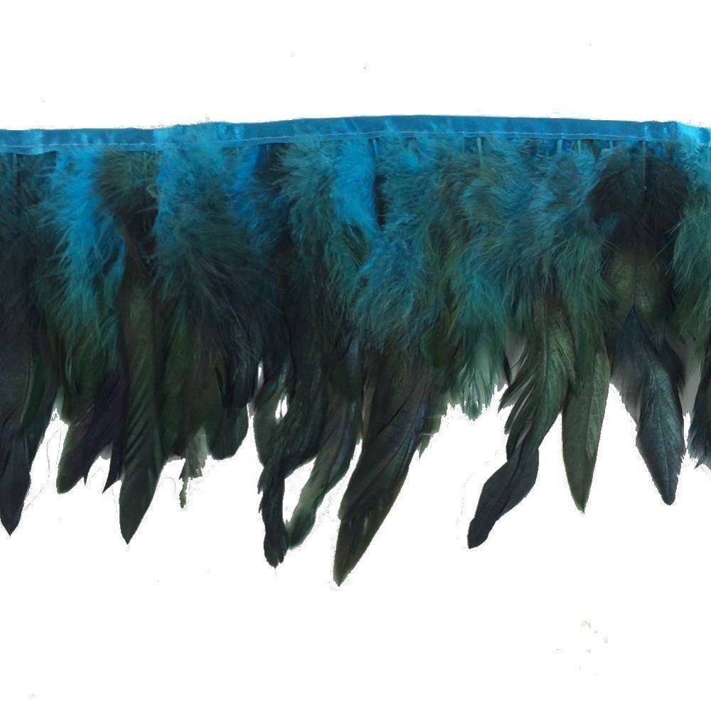 KOLIGHT Pack of 2 Yards Natural Rooster Hackle Feather Trim Fringe 5-7 in Width DIY Decoration Royal Blue