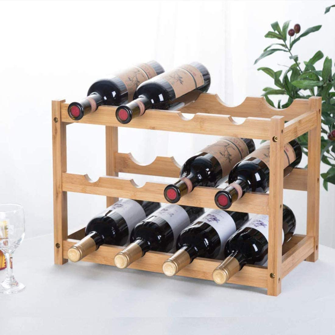 Amazon Com Riipoo Wine Racks Countertop Wine Bottle Holder Wine Shelf Storage For Kitchen Dinging Room Pantry Cabinet Bar 3 Tier Kitchen Dining