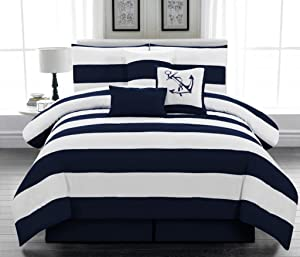 Legacy Decor 7pc. Microfiber Nautical Themed Comforter Set, Navy Blue and White Striped, Full Size