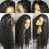 Fushen Hair 360 Lace Frontal Wigs 180% Denisty Lace Front Human Hair Wigs for Black Women Curly Brazilian Virgin Hair Pre Plucked 360 Lace Wigs with Baby Hair (16inch with 180% density, Curly)