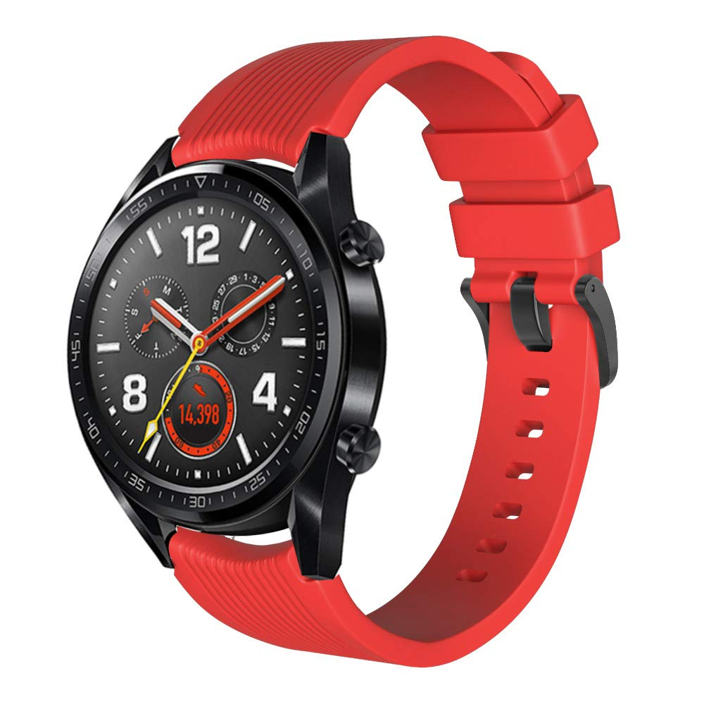 Sunward Fashion Silicone Watch Band Replacement Wrist Strap for Huawei Watch GT, 22mm Quick Release Sport Watch Bands,Gear S3, Moto 360 46mm, LG G Watch, Huawei Watch 2 Classic (Red)