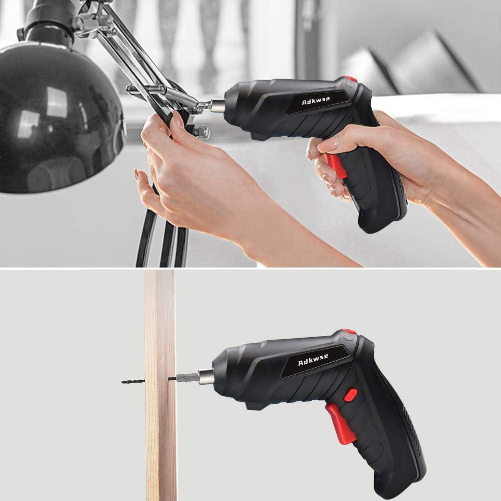 Adkwse Taladro atornillador inal/ámbrico 3,6 V, bater/ía de litio de 1,3 Ah y luz LED, 2 direcciones, 46 accesorios