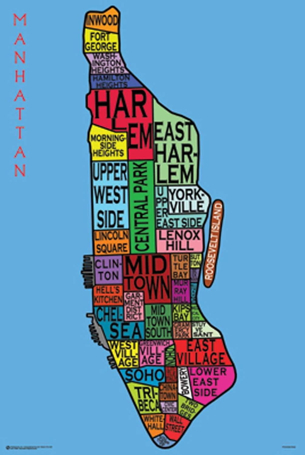 Amazoncom Posterservice Manhattan Neighborhoods Poster Prints - Paris map neighborhoods