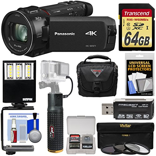 Panasonic HC-WXF1 Wi-Fi 4K Ultra HD Video Camera Camcorder with 64GB Card + Battery Hand Grip + Case + 3 UV/CPL/ND8 Filters + LED Video Light + Kit by Panasonic