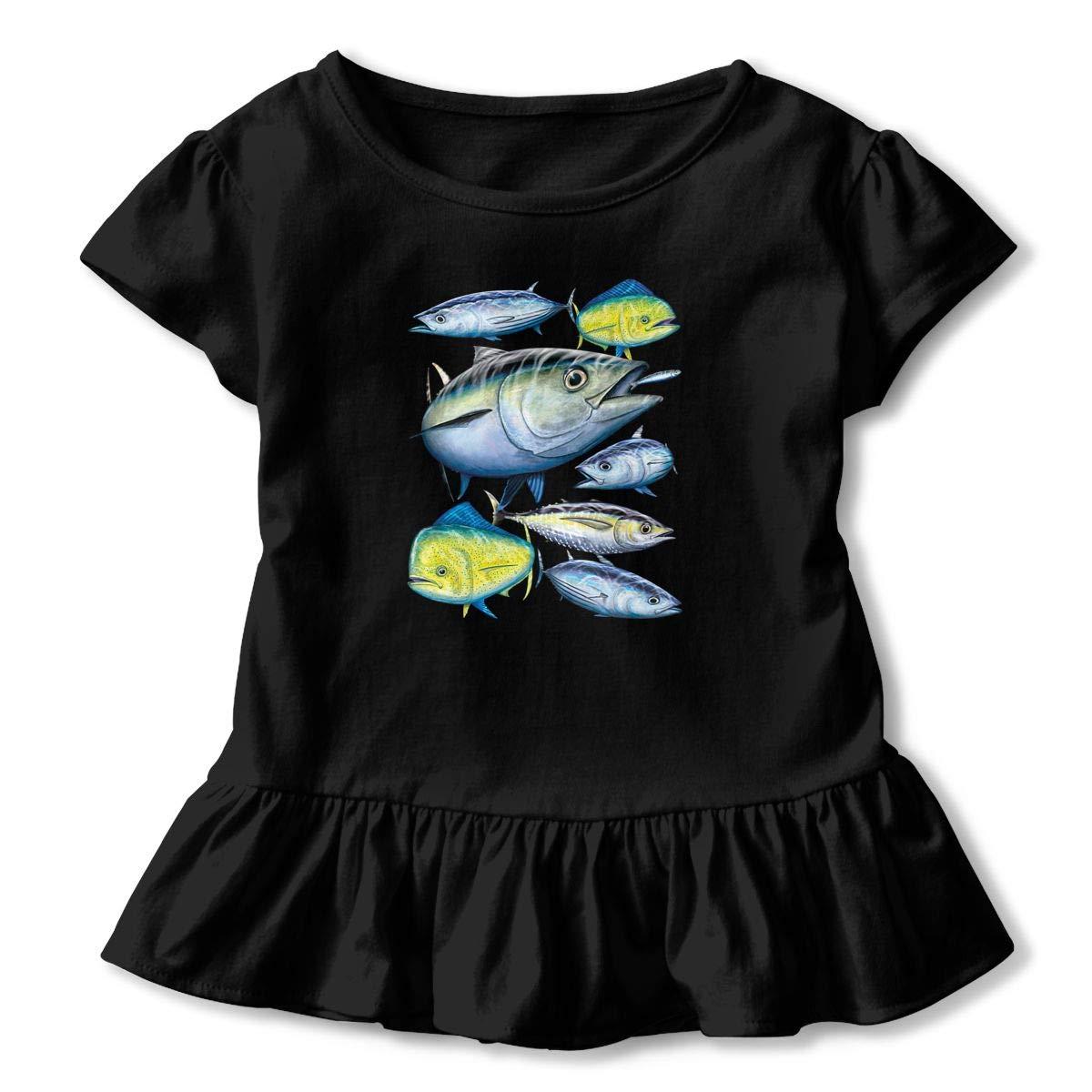 Cheng Jian Bo Tuna and Mahi Mahi Toddler Girls T Shirt Kids Cotton Short Sleeve Ruffle Tee