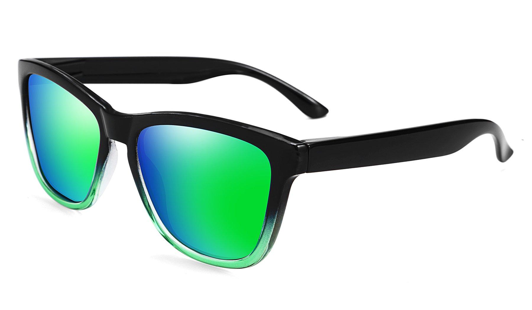 FEISEDY Great Classic Polarized Sunglasses Men Women Mirrored HD Lens B1858 (Gradient Frame Blue Mirrored Lens, 54)