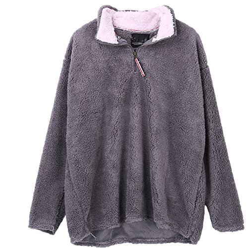 Unisex Warmth Fashion Wool Tipped Pile 1/2 Zip winter's outfits Fleece Pullover (L, - Pullover Zip Quarter