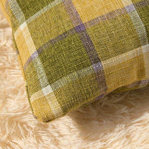 Classic Burlap Throw Pillow Cover 18x18 Yellow Buffalo Plaid Cushion Cover Pillow Sham Vintage Home Décor