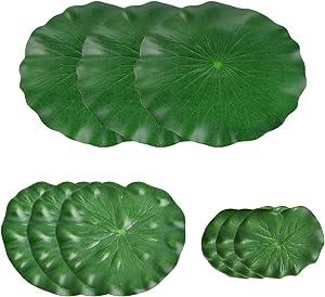 YANSHON 9 Pack Artificial Water Lily Leaves, Artificial Floating Foam Lotus Leaves Pond Decor for Patio Koi Fish Pond Pool Aquarium Home Garden (30cm+18cm+15cm)