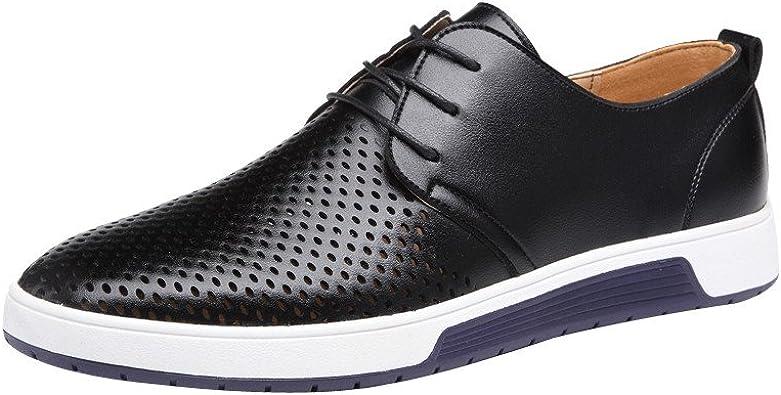 Zapatillas de Hombre de BaZhaHei, Moda Hombre Zapatos de cuero casuales Zapatos planos Zapatos de negocios zapatillas de boda Zapatos de vestir de los hombres zapatos casuales para hombre color sólido: Amazon.es: